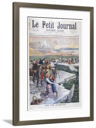 People Stranded on Ice Floes, Finland, 1894--Framed Giclee Print