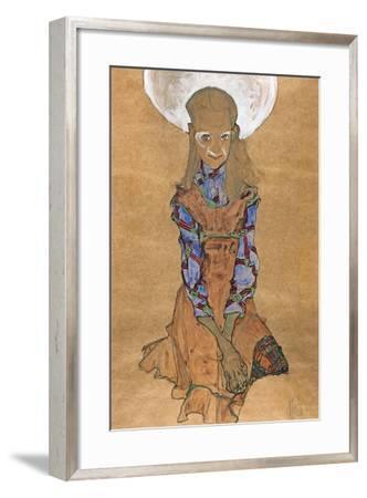 Seated Girl (Poldi Lodzinsk), C. 1910-Egon Schiele-Framed Giclee Print
