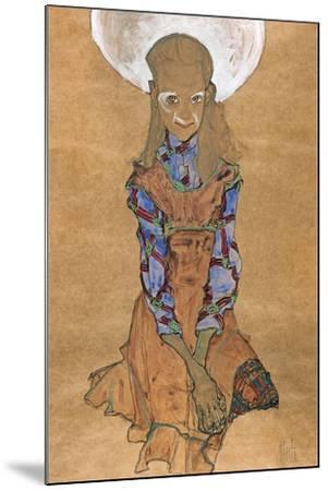 Seated Girl (Poldi Lodzinsk), C. 1910-Egon Schiele-Mounted Giclee Print