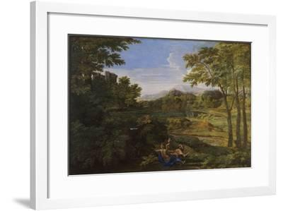 Landscape with Two Nymphs and a Snake, Ca 1659-Nicolas Poussin-Framed Giclee Print