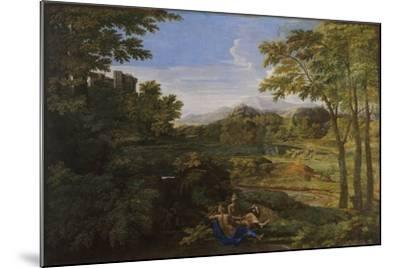 Landscape with Two Nymphs and a Snake, Ca 1659-Nicolas Poussin-Mounted Giclee Print