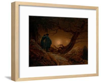 Two Men Contemplating the Moon, Ca 1820-Caspar David Friedrich-Framed Giclee Print