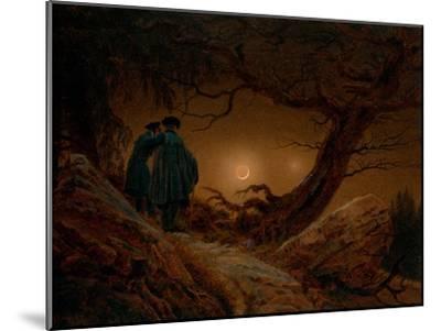 Two Men Contemplating the Moon, Ca 1820-Caspar David Friedrich-Mounted Giclee Print