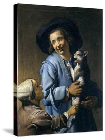 Youths Playing with the Cat, 1620-1625-Abraham Bloemaert-Stretched Canvas Print