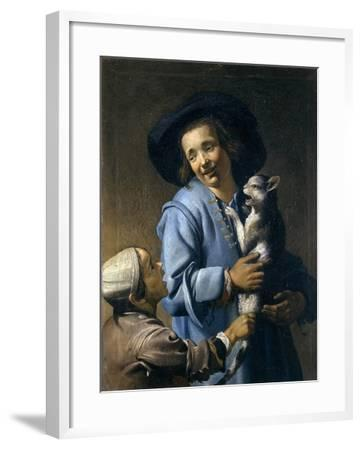 Youths Playing with the Cat, 1620-1625-Abraham Bloemaert-Framed Giclee Print
