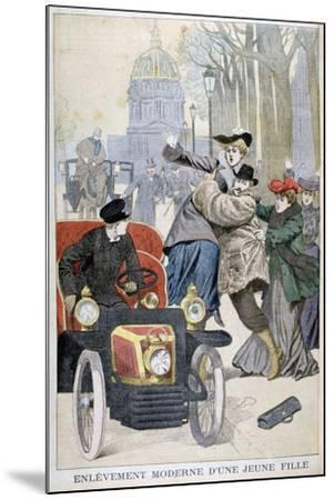Kidnapping of a Young Woman in Paris, 1902--Mounted Giclee Print