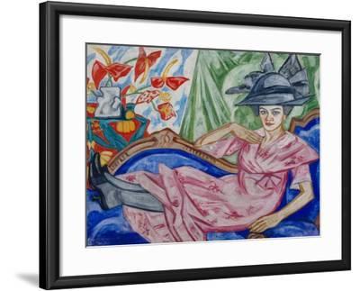 Portrait of the Artist's Sister, 1912-Olga Vladimirovna Rozanova-Framed Giclee Print