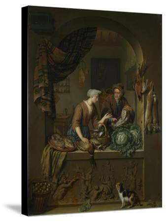 A Woman and a Fish-Pedlar in a Kitchen, 1713-Willem Van Mieris-Stretched Canvas Print