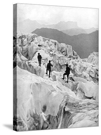 Climbing Through the Bossons Icefall on the Way Up Mont Blanc, Switzerland, Early 20th Century--Stretched Canvas Print