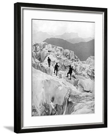 Climbing Through the Bossons Icefall on the Way Up Mont Blanc, Switzerland, Early 20th Century--Framed Giclee Print