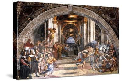 The Expulsion of Heliodorus, 1511-1512-Raphael-Stretched Canvas Print