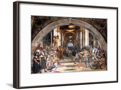 The Expulsion of Heliodorus, 1511-1512-Raphael-Framed Giclee Print