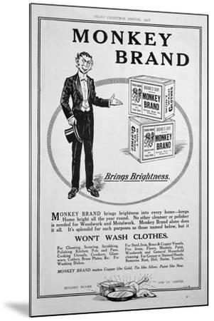 Advert for Brooke's Monkey Brand Soap, 1918--Mounted Giclee Print