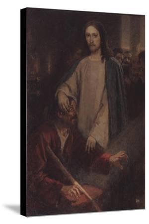 The Healing of the Blind Man of Jericho-Vasili Ivanovich Surikov-Stretched Canvas Print