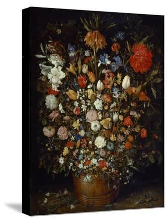 Flowers in a Wooden Vessel, Ca 1606-Jan Brueghel the Elder-Stretched Canvas Print