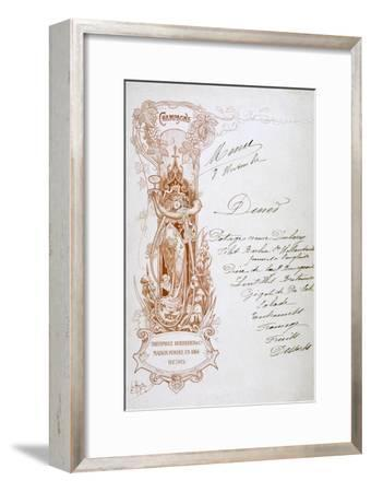 Champagne Advertisement on a Menu, 19th Century--Framed Giclee Print