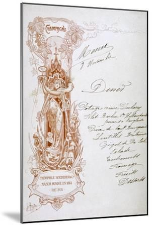 Champagne Advertisement on a Menu, 19th Century--Mounted Giclee Print