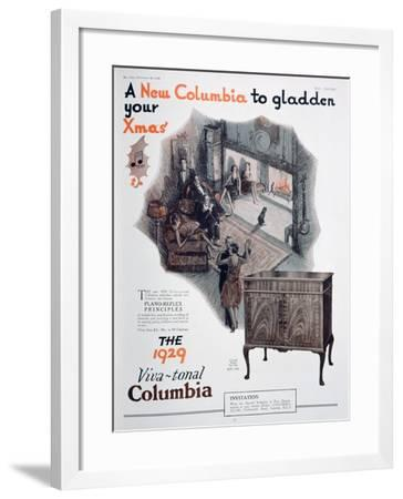 Christmas Advert for Columbia Gramophones, 1928--Framed Giclee Print