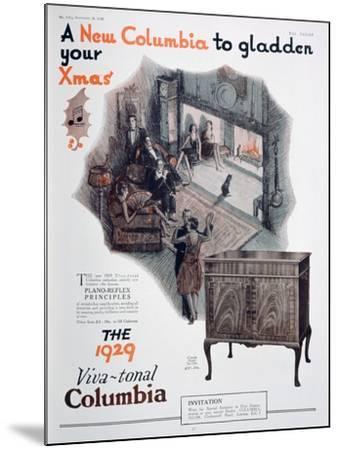 Christmas Advert for Columbia Gramophones, 1928--Mounted Giclee Print