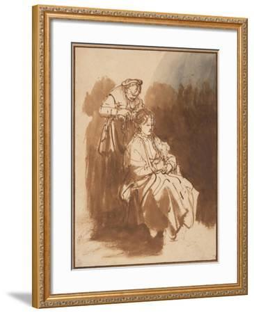 A Young Woman Having Her Hair Braided, Ca 1637-Rembrandt van Rijn-Framed Giclee Print