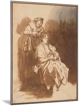 A Young Woman Having Her Hair Braided, Ca 1637-Rembrandt van Rijn-Mounted Giclee Print
