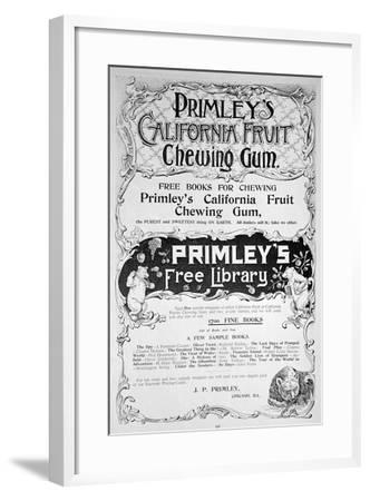 Advert for Primley's California Fruit Chewing Gum, 1894--Framed Giclee Print