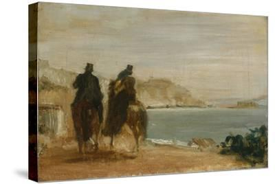 Promenade Beside the Sea, Ca 1860-Edgar Degas-Stretched Canvas Print
