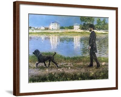 Richard Gallo and His Dog at Petit Gennevilliers, C. 1883-1884-Gustave Caillebotte-Framed Giclee Print