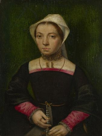 A Lady with a Rosary, C. 1550-Catharina, van Hemessen-Framed Giclee Print