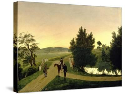 Landscape with Hunters-Ignati Stepanovich Shchedrovsky-Stretched Canvas Print
