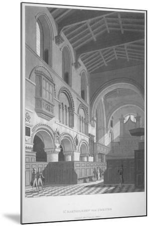 Interior View of the Church of St Bartholomew-The-Great, Smithfield, City of London, 1800--Mounted Giclee Print