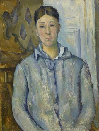 Madame Cézanne in Blue, 1890-Paul C?zanne-Framed Giclee Print