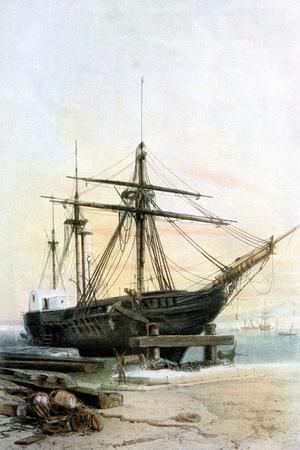 Frigate, 19th Century- L & Lauvergne Sabatier-Stretched Canvas Print