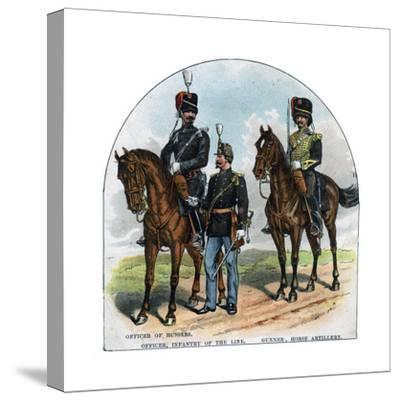 Officer of Hussars, Officer, Infantry of the Line, Gunner, Horse Artillery, 19th Century--Stretched Canvas Print