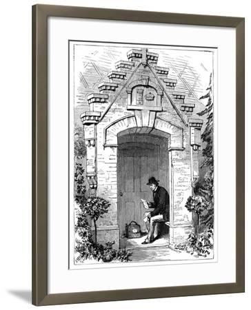 Benjamin Disraeli (1804-188) Reading Letters in the Porch of Hughenden Lodge, 19th Century--Framed Giclee Print
