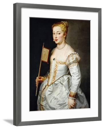 Girl with Fan, Ca. 1628-1629-Peter Paul Rubens-Framed Giclee Print