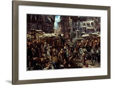 Piazza D?Erbe in Verona, 1884-Adolph Friedrich von Menzel-Framed Giclee Print