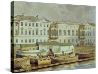Naryshkin Palace on the Fontanka River, Mid of the 19th C-Ludwig Premazzi-Stretched Canvas Print