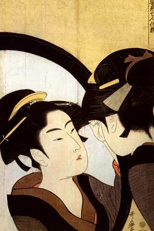 A Beauty before the Mirror, C1793-Kitagawa Utamaro-Framed Giclee Print