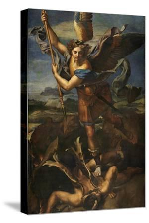Saint Michael Vanquishing Satan, 1518-Raphael-Stretched Canvas Print