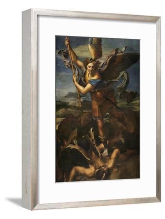 Saint Michael Vanquishing Satan, 1518-Raphael-Framed Giclee Print