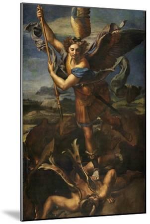 Saint Michael Vanquishing Satan, 1518-Raphael-Mounted Giclee Print