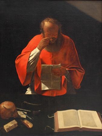Saint Jerome Reading (Cop), Ca 1636-Georges de La Tour-Framed Giclee Print