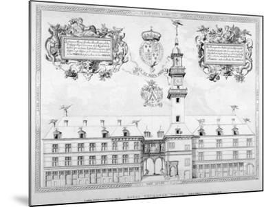 South View of the First Royal Exchange with Coats of Arms Above, City of London, 1819--Mounted Giclee Print