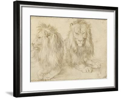 Two Seated Lions, 1521-Albrecht D?rer-Framed Giclee Print