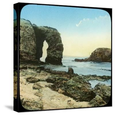 Rock Arch at Perran Beach, Cornwall, Late 19th or Early 20th Century--Stretched Canvas Print