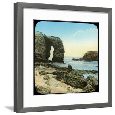 Rock Arch at Perran Beach, Cornwall, Late 19th or Early 20th Century--Framed Giclee Print
