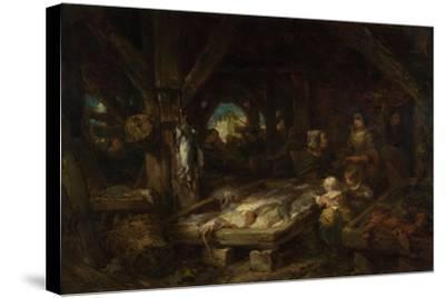 The Fish Market, Dieppe, 1845-Louis Gabriel Eugène Isabey-Stretched Canvas Print