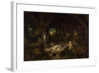 The Fish Market, Dieppe, 1845-Louis Gabriel Eugène Isabey-Framed Giclee Print