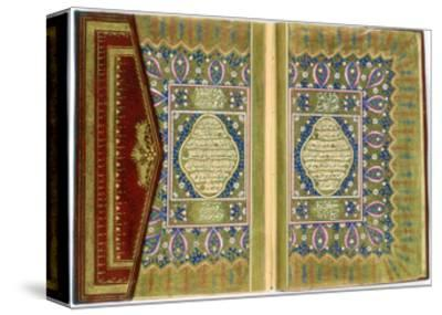 Double Page Spread from a Koran with Marginal Floral Decoration, Turkish, 1855--Stretched Canvas Print